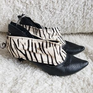 Irregular Choice Zebra Pattern Kitten Heel Booties